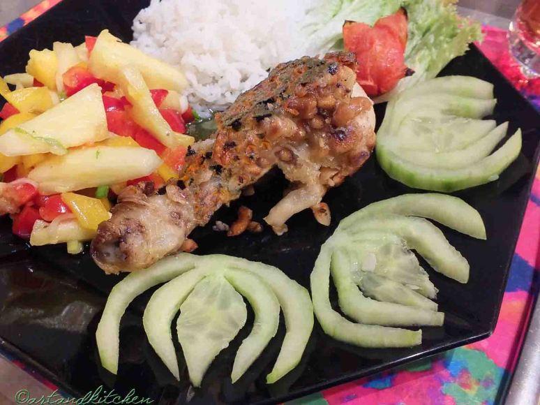 Ayam Goreng Balut Kacang and Salad