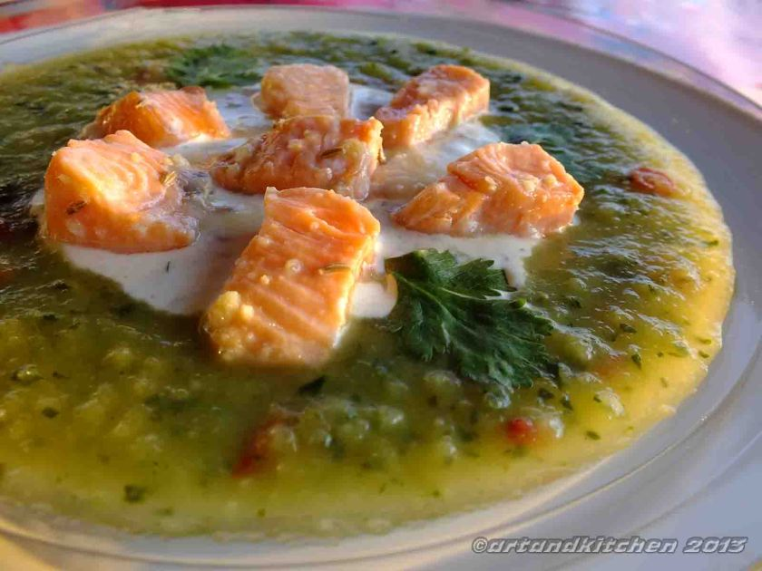 Chilled Zucchini Soup With Marinated Salmon