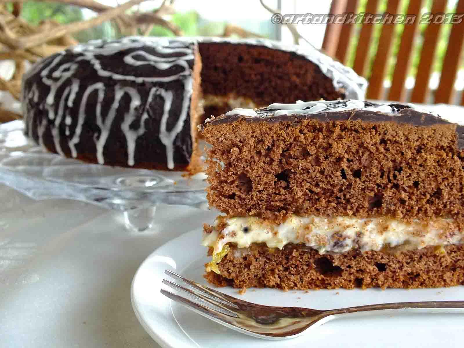 Dark Chocolate Orange Cake With Cannoli Filling