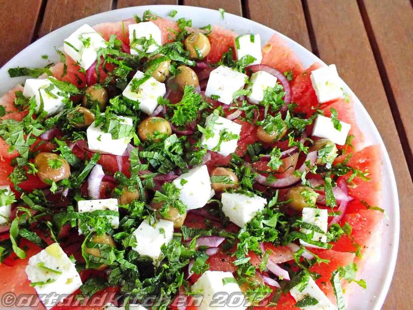 watermelon salad with mint 1