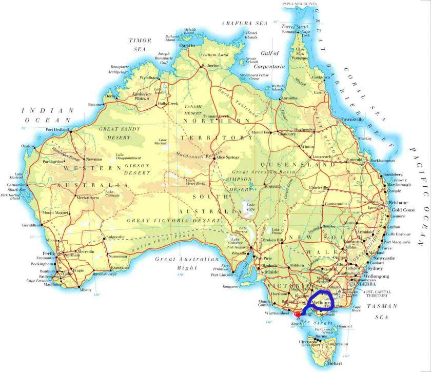 Melbourne-Lakes Entrance_Wangaratta_Otway National  Park