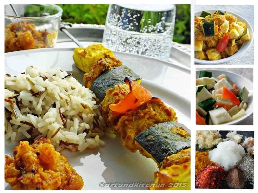 Spiced Grilled Chicken and Vegetables Kebabs collage