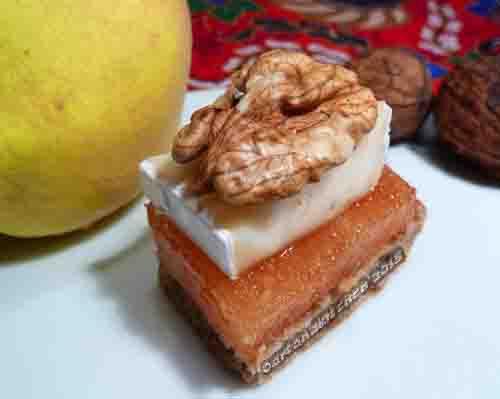 dulce de membrillo with bread, cheese and walnuts