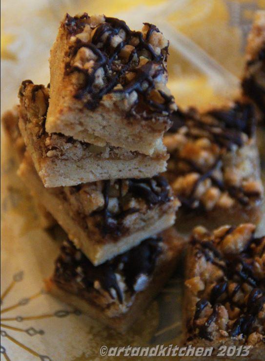 Chocolate and Walnut Crumble Bars