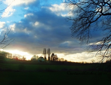 sunset field warm winter day