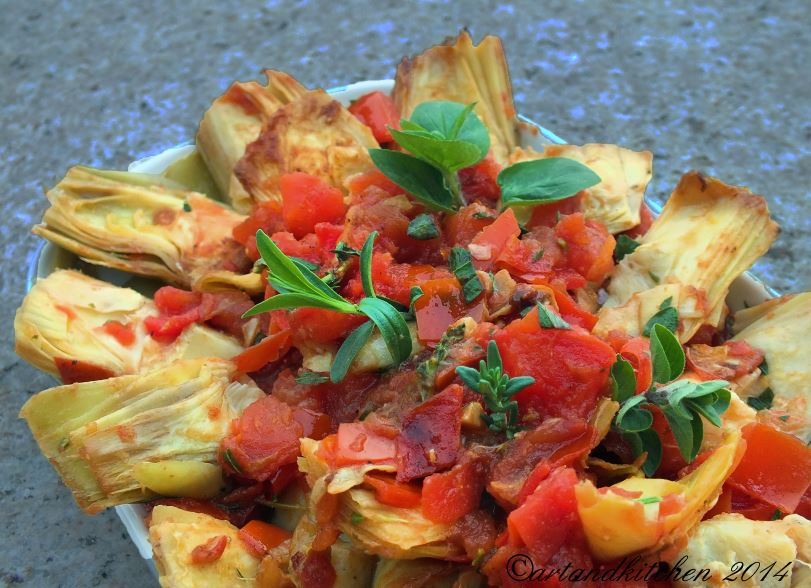 Artichokes with Tomatoes and Fresh Herbs