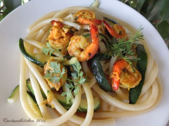 Exotic Shrimps on a Zucchini and Pasta Bed