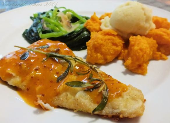 Fish with carrot orange mustard dressing and carrot ginger puree