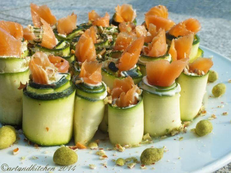 Salmon Rolls with Wasabi Peanuts
