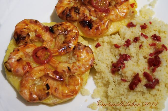 Shrimps on Pineapple Planks with Couscous 1