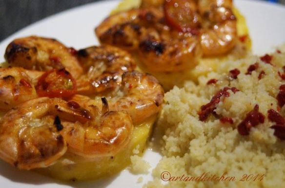 Shrimps on Pineapple Planks with Couscous 2