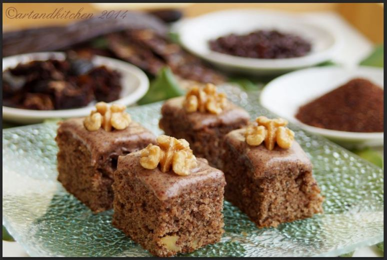 Carob Cake Bars with Walnuts