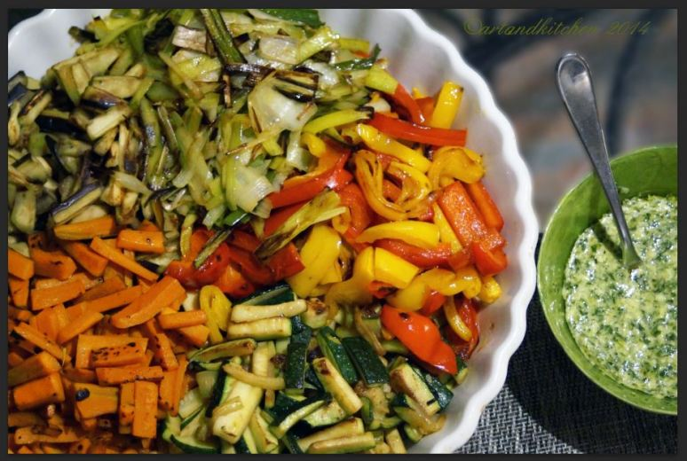Stir Fried Vegetables with Cilantro and Ginger Dressing
