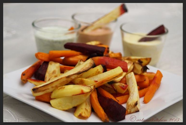 Mixed Oven Baked Root Fries with Dip Sauces  2