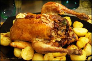 Roast Guinea Fowl with Walnuts and Cranberry  Stuffing