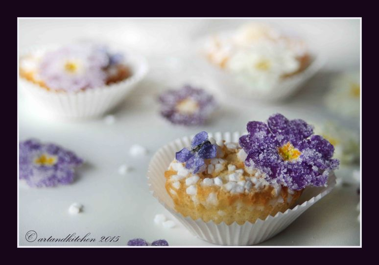 White Muffins with Candied Flowers 4