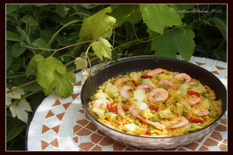Risoni-Paella-with-Shrimps-and-Artichokes